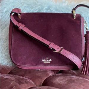 Kate Spade Burgundy Velvet Genuine leather satchel